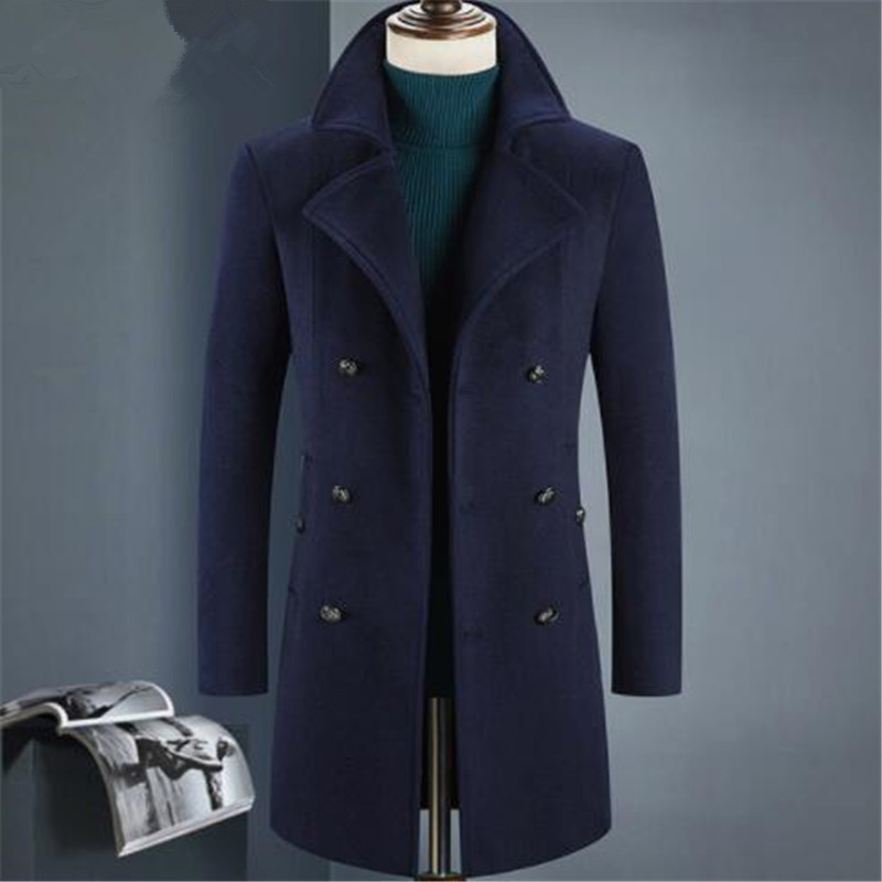 2018 Winter double breasted Men's fashion thicken trench coat jacket Men's casual windbreaker woolen coats men overcoat