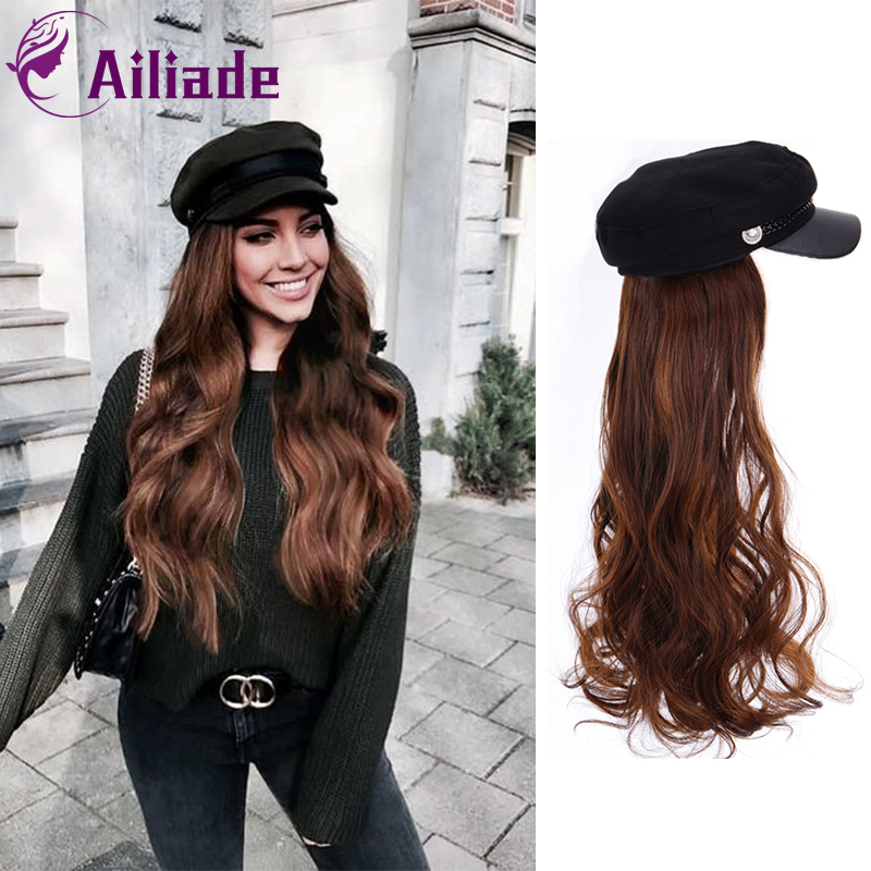 AILIADE Synthetic Long Straight Wavy Wigs With Beret Hat Navy Hat Knitted Hat Fashion Autumn Winter Cap Hair Wig Hair Extensions