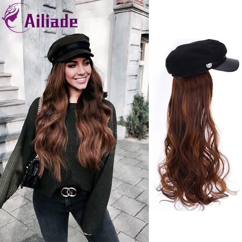 Синтетические длинные прямые волнистые парики AILIADE с беретом, темно-синяя шапка, вязаная шапка, модная осенне-зимняя шапка, парик для наращи...