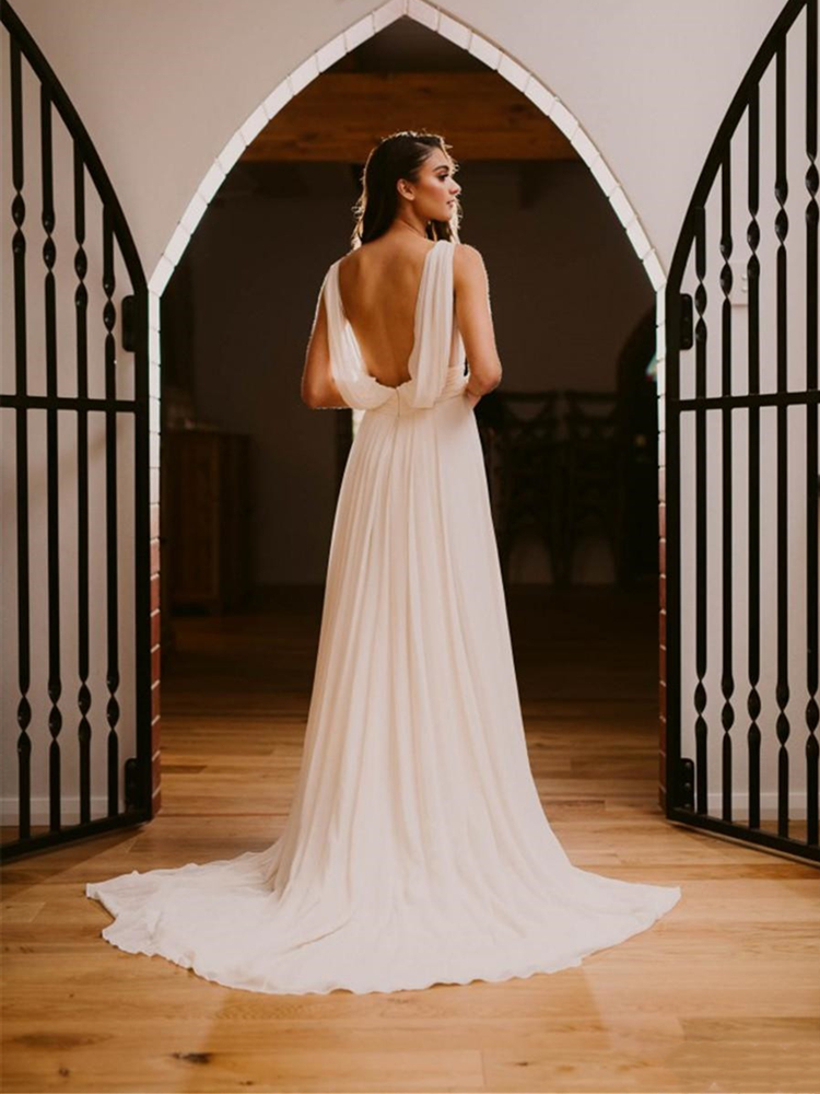 Greek Goddess Chiffon Wedding Dresses Open Back V Neck Pleats Sweep Trail Vestido De Noiva Bridal Gowns Elegant Simple 2020