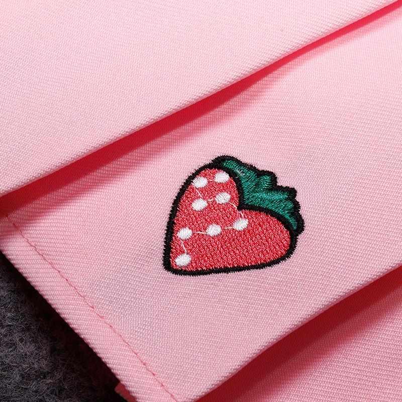 Nicemix Rokken Vrouwen Hoge Taille Mini Denim Rokken Aardbei Fruit Leuke Plooirok Harajuku Japanse School Uniform Rok