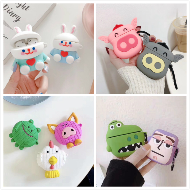 3D Rabbit Earphone Case For Airpods 2 Case Silicone Mouse Cover For Apple Air Pods Case Dinosaur For Earpods Headphone Strap