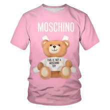 2021 summer new cute bear youth 3DT shirt, high quality digital printing handsome guy and beauty comfortable O-neck T-shirt