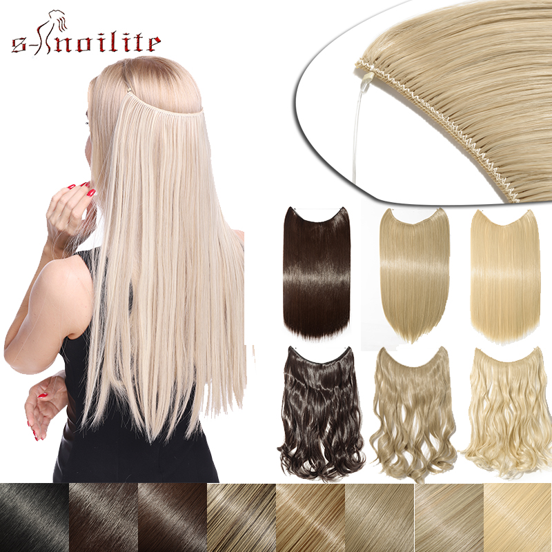 S-noilite Long Wavy Fish Line Hairpieces Invisible Wire No Clips In One Piece Synthetic Hair Extensions Fake Hair For Women