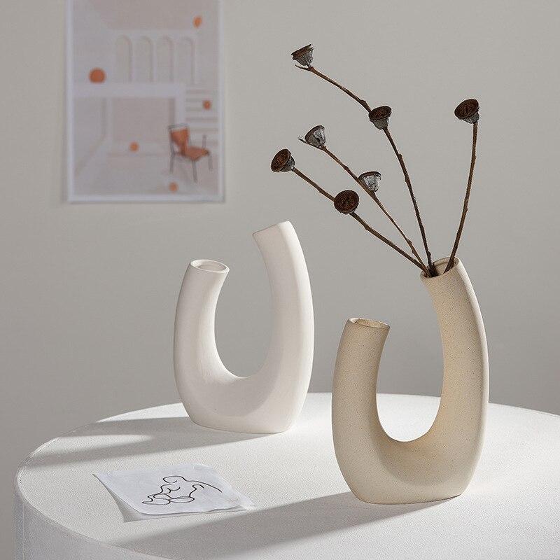 Nordic suszony kwiat wazon biały ceramiczny wazon kwiat dekoracyjny do domu układ hydroponicznych Home Cafe Studio Decor