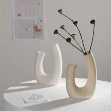 Vase de fleurs séchées de style nordique en céramique blanche, Arrangement de fleurs, décoration hydroponique pour la maison, café et Studio
