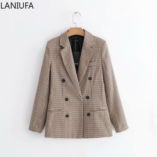 Vintage Single Breasted Plaid Women Blazer Pockets Jackets Women Retro Suits Coat Feminino Blazers Outerwear High Quality Y853