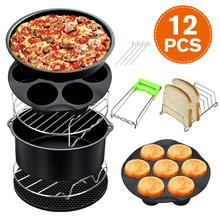 12Pcs Air Fryer Accessories 8 Inch for Air fryer 5.2-5.8QT Baking Basket Pizza Plate Grill Pot Kitchen Cooking Tool for Party
