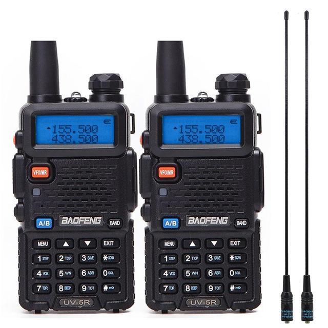 2Pcs Baofeng UV-5R Walkie Talkie Professional CB Radio Station Baofeng UV5R Transceiver 5W VHF UHF PortableHunting Ham Radio