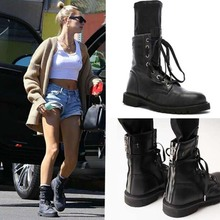 New Fashion Women Motorcycle Boots Military Mid Calf Shoes Woman Size 40 wo19067
