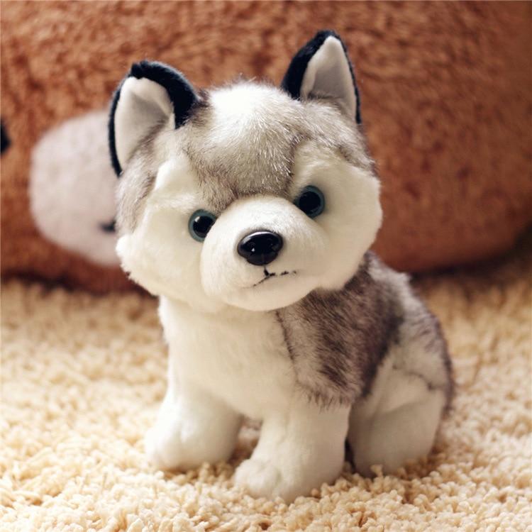 1 Pza simulación Hasky lindo perro muñeca peluche animales Kawaii cachorro niños juguetes para niños Regalo de Cumpleaños de Navidad Partes niños RC coches alemán Control remoto simulación juguete Tigre tanque para niño Mini regalo