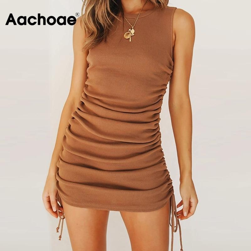 Aachoae Women Solid Mini Dress Summer 2020 O Neck Sleeveless Sexy Bodycon Dress Side Bow Tie Chic Beach Dresses Ropa De Mujer