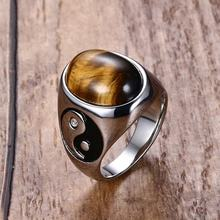 Vintage Mens Oval Tiger Eye Natural Stones with Yin Yang Symbol Engagement Ring Stainless Steel Male Accessories Anel Aneis