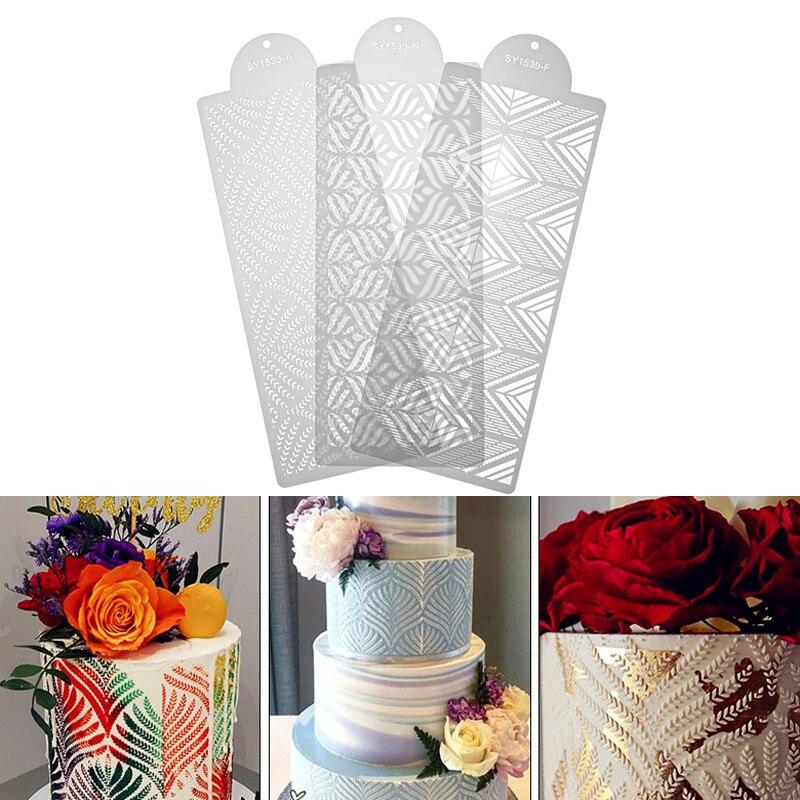 Полый пластиковый трафарет для украшения торта, 3 стиля s, богемный стиль, печать помадки, форма для украшения торта на день рождения, свадьбу
