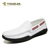 Summer Casual Boat Shoes Men Soft Leather Loafer Comfortable Driving Shoes Moccasins Footwear Little White Shoes Kasual Schoenen