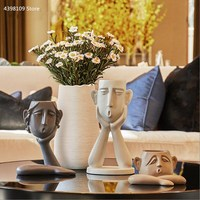 Creative home vase decoration personalized resin abstract human face vase modern minimalist living room TV cabinet statue