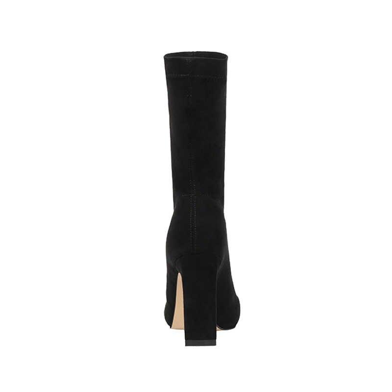 Artı boyutu yüksek topuk çizmeler çorap kadın 2019 akın ayakkabı seksi parti kalın topuk ayak bileği patik kadın kış sivri burun bot ayakkabı