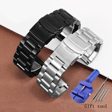 Thickened stainless steel watch band 22mm 24mm 26mm black silver bracelet Replacement metal belt for men's watch accessories stainless steel watch band 26mm for garmin fenix 3 hr butterfly clasp strap wrist loop belt bracelet silver spring bar