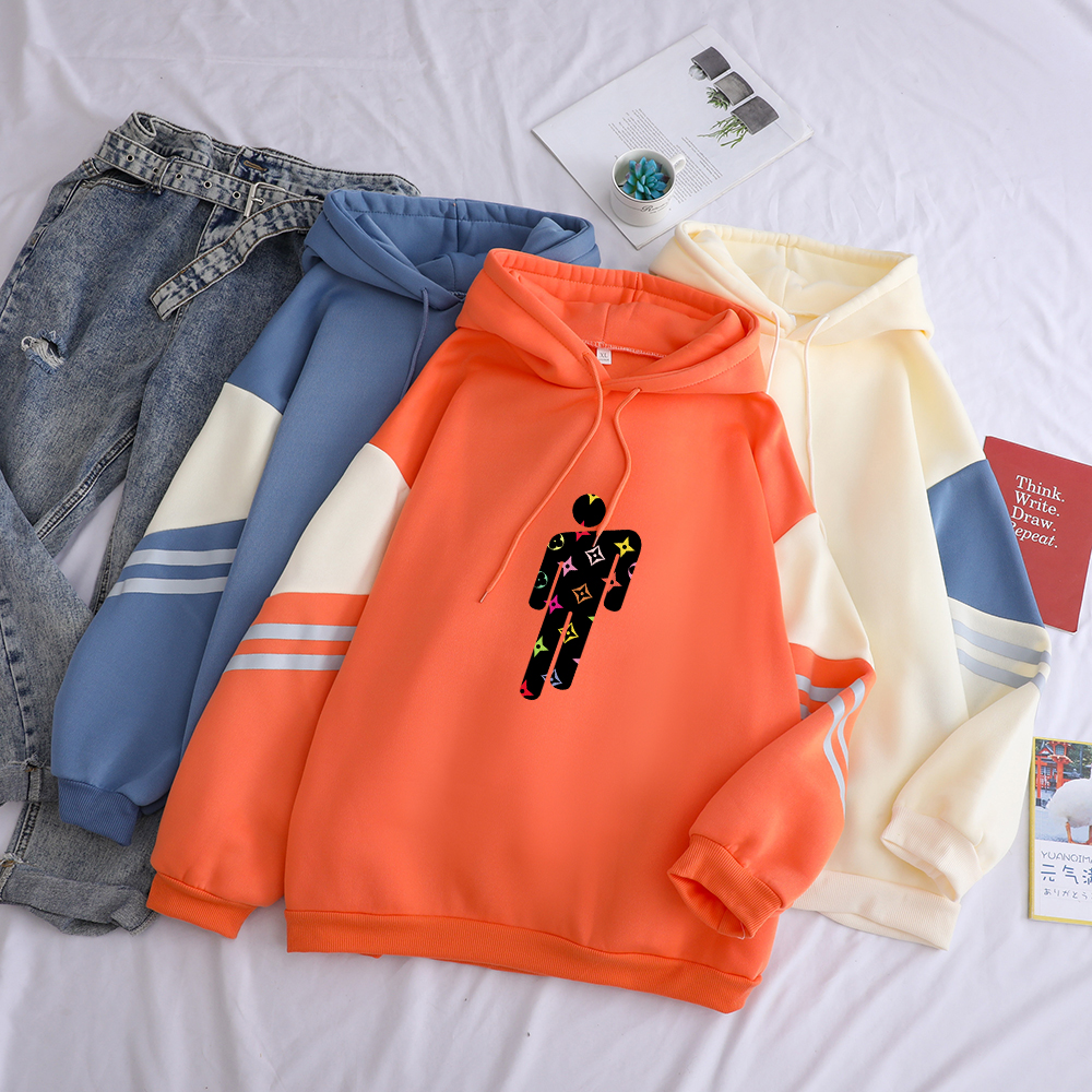 Billie Eilish Hoodies Women Autumn Winter New Fleece Contrast Color Patchwork Hooded Casual Streetwear Drop Shoulder Sweatshirts