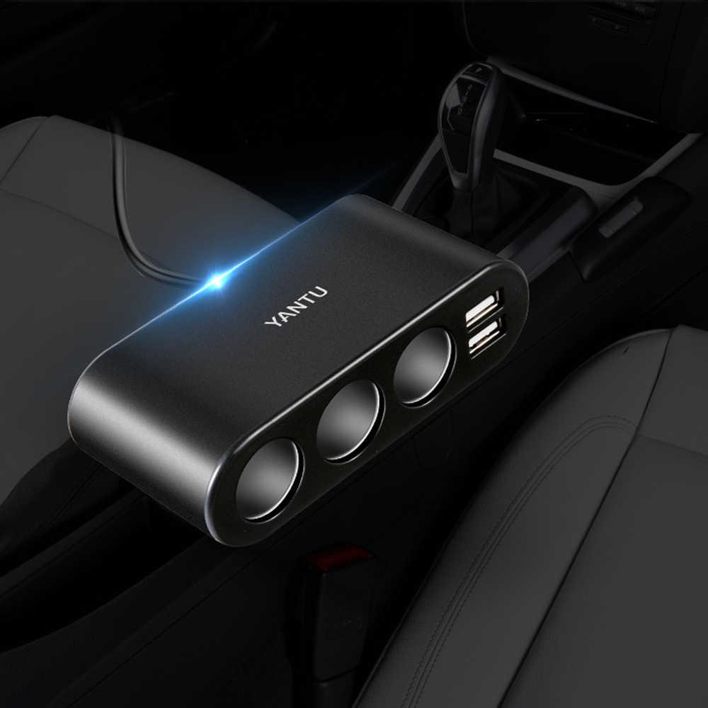 デュアル USB ポート 3 ウェイ自動車のシガーライターソケットスプリッタ充電器プラグアダプタ DC 5V 1A + 2.1A すべての電話と Pc の Ipad Mp3