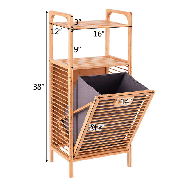 Costway Laundry Hamper Tilt Out Bin Bamboo Shelf Slat Frame Space Saving Storage HW56582 2