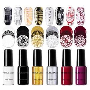 NICOLE DIARY лак для стемпинга, цветной черный белый лак для дизайна ногтей, печатный лак для дизайна ногтей, украшение для ногтей