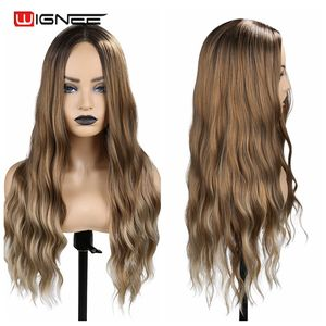 Image 4 - Wignee Ombre Brown Synthetic Wigs for Women Middle Part Long Wave Natural Hair For American Fiber Daily/Party/Cosplay Hair Wigs