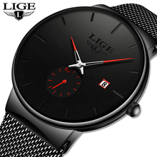Mens Watches Top LIGE Brand Luxury Simple Ultra-Thin Stainless Steel Mesh Belt Watch Men Fashion Waterproof Quartz Sport Watch dom men watches top brand luxury quartz watch casual quartz watch black leather mesh strap ultra thin fashion clock male relojes