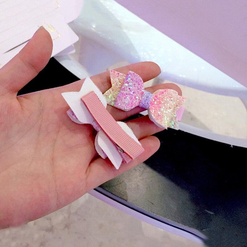 2pcs set Cute Mini Little Girls Hair Bows Clips Double Layer Glitter Kids Hairpins Sequins Princess