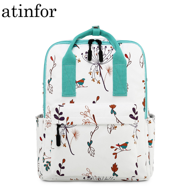 Fashion Waterproof Women Backpack Classic Fresh Flower Birds Printing Female Portable School Bagpack Laptop Bookbag Girls
