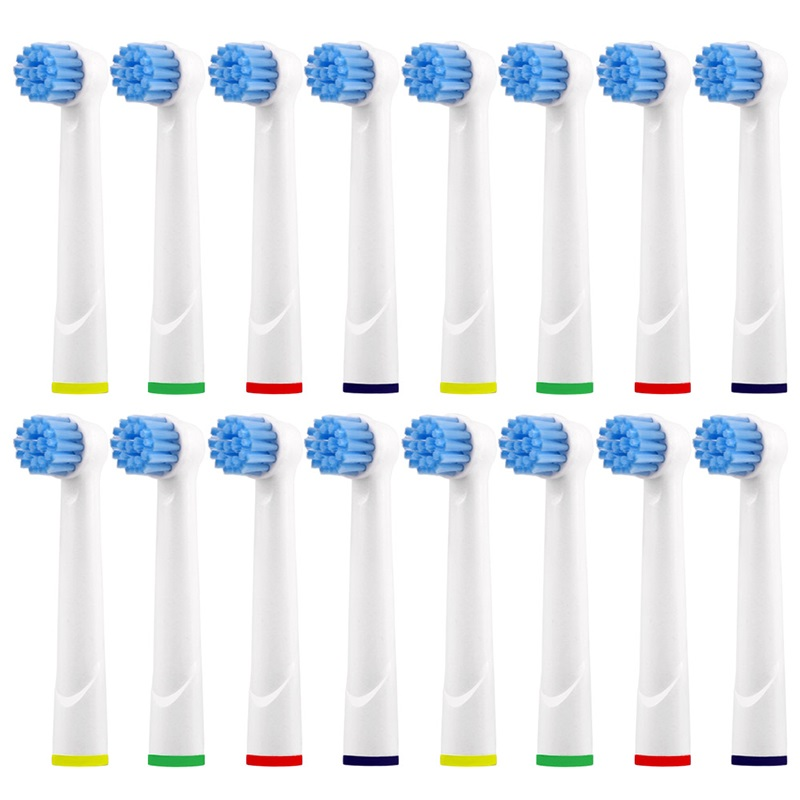 16pcs EBS17 Replacement Tooth Brush Heads For Braun Oral-B Sensitive Clean/Vitality .etc 3D White Electric Toothbrush Heads Kid image