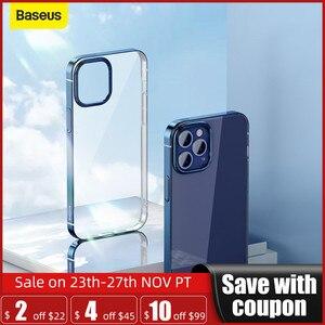 Baseus Plating Phone Case For iPhone 12 Pro 12 Mini Transparent Back Case For iPhone 12 Pro Max Coque Shell Soft TPU Case Cover