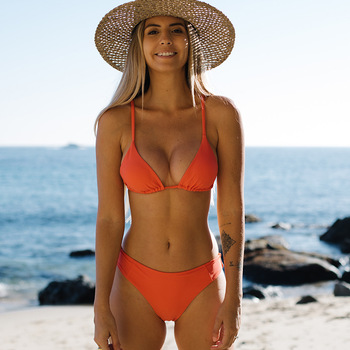 Solid Orange Mini Bikini Set Micro Swimsuit Women Push Up Bikini 2021 Sexy Swimwear Halter Bandage Bathing Suit SW482 2