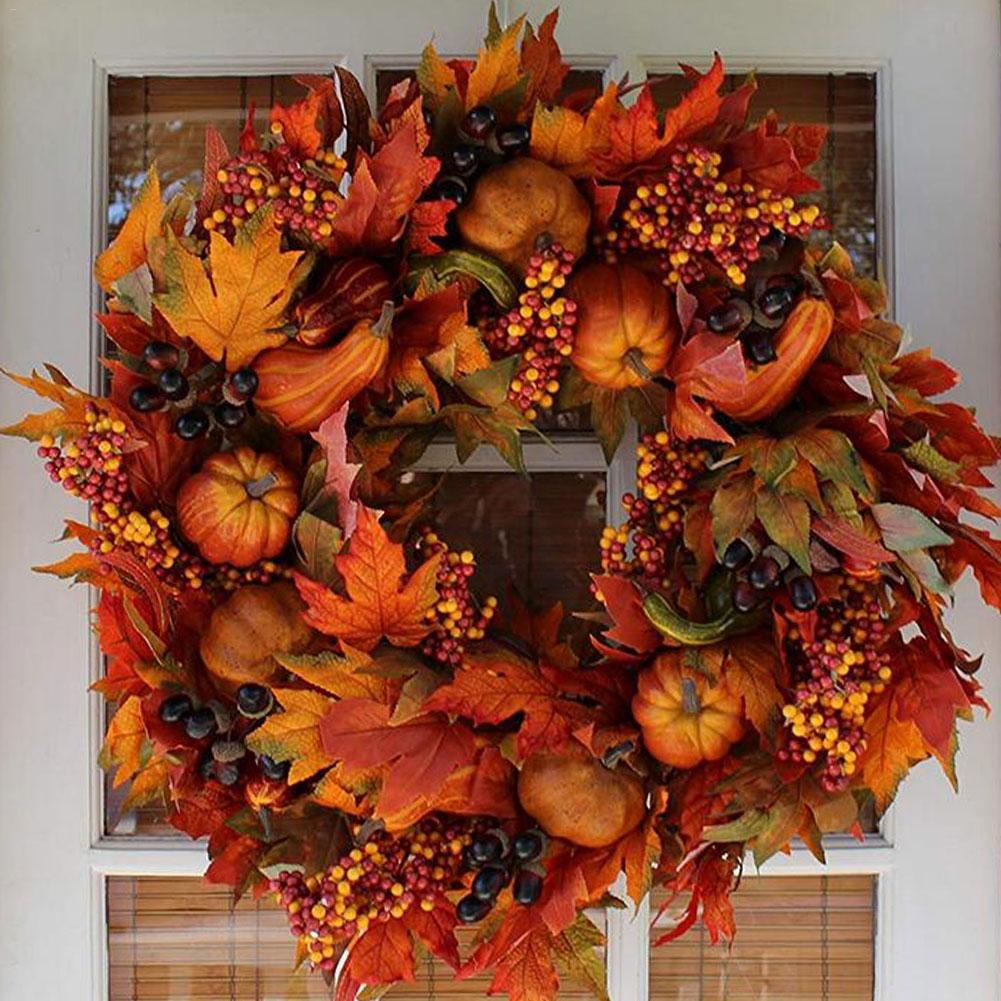 Halloween Autumn Holiday Door Decoration Rattan Berry Maple Leaves Autumn Door Wreath Door Wedding Home Decoration Wreath 45cm