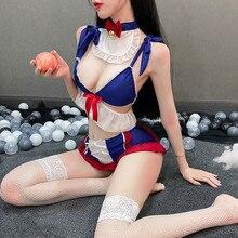 Cute Kawaii Snow White Cosplay Costume Women Lingerie Maid Uniform Bunny Tail Underwear Lolita Dress Bra and Panty Set