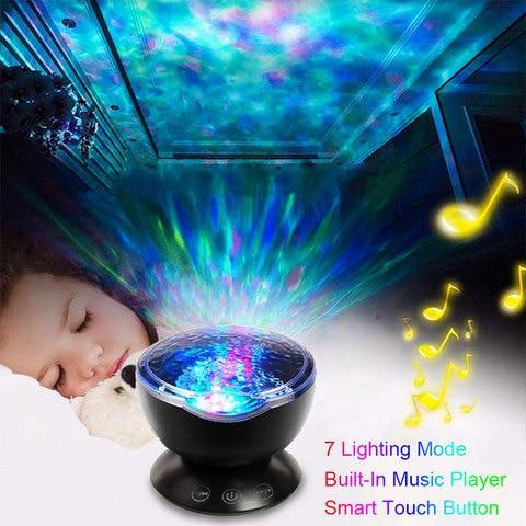 7 cores oceano onda projetor led night light com usb leitor de musica ceu estrelado