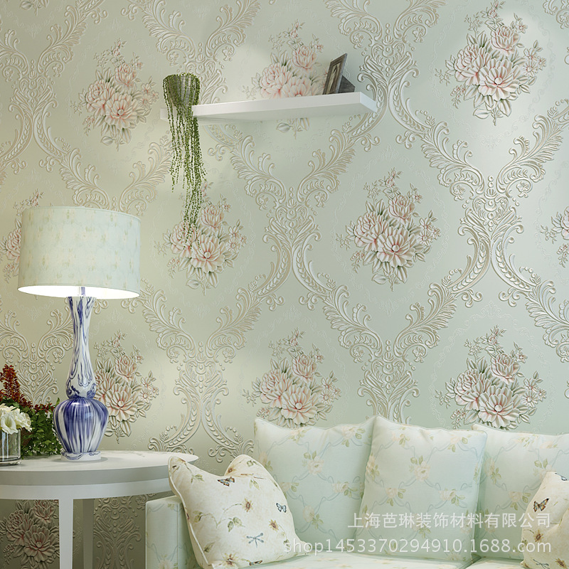 Export Quality Foaming Stereo European Countryside Big Flower Non-woven Wallpaper Living Room Bedroom Television Sofa Wallpaper
