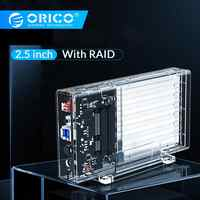 ORICO 2.5'' HDD Case With Raid SATA to USB 3.0 HDD Enclosure Transparent Hard Drive Box Support UASP for 7-9.5 mm HDD SSD 4TB