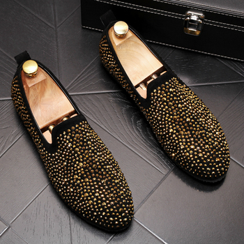 famous brand mens luxury fashion rivet shoes summer breathable slip-on lazy shoe party nightclub wear personality loafer sapatos
