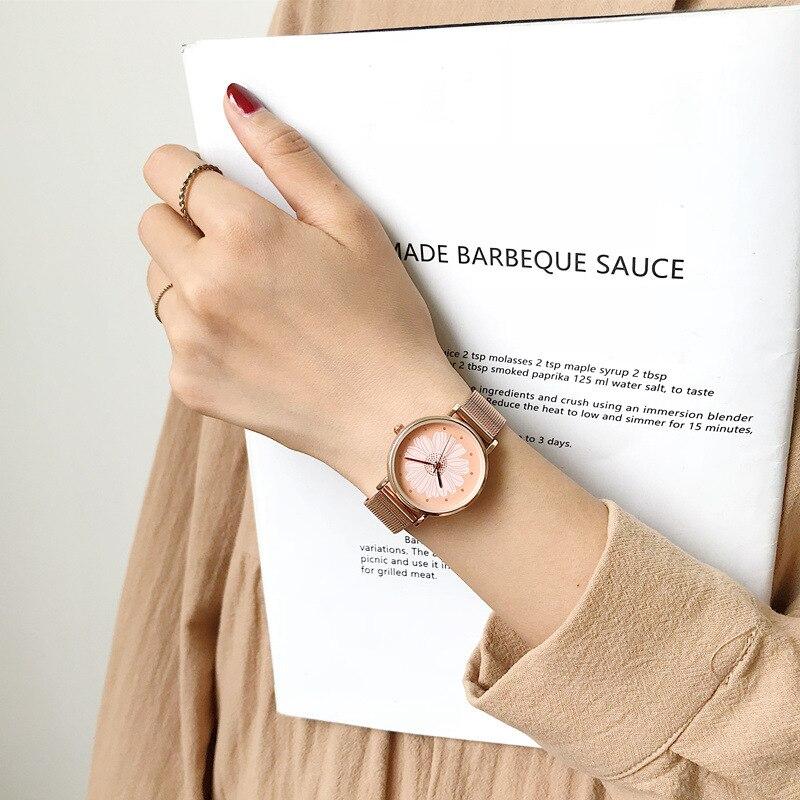 Elegant Little Daisies Flower Ladies Watch Women Fashion Casual Stainless Steel Mesh Strap Watches Luxury Rose Gold Woman Clock