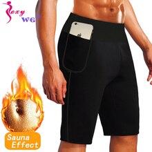 Sexywg mais tamanho dos homens esporte legging yoga pant com bolso do telefone cintura trainer controle calcinha neoprene sauna corpo shaper 4xl 6xl