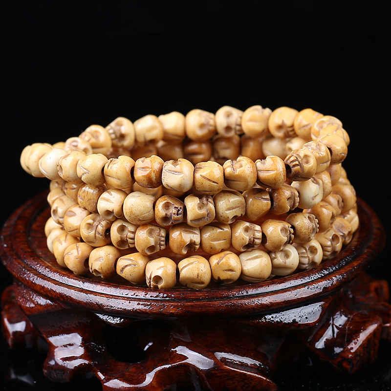 Mega Discount A7ac 108pcs Tibet Yak Bone Hand Carved Skull Beads Prayer Malas For Man Fine Quality Original Color 9mm Bro851 Ww Vitavaror Se