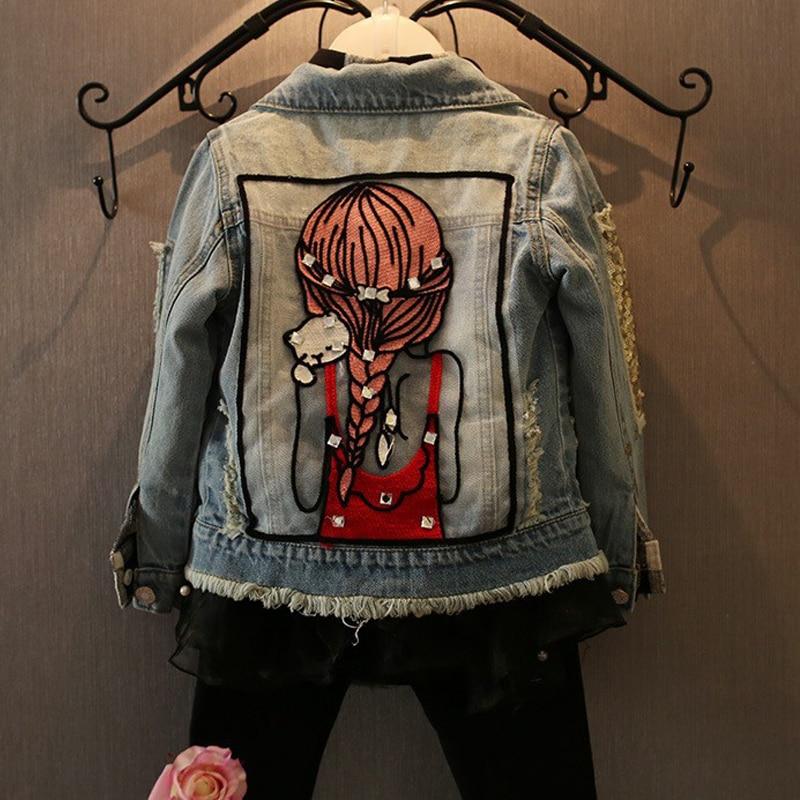New Kids Clothes Children Girls Jackets Cool Kid Long Sleeves Turn-down Collar Buttons Coats Pocket Girl Pattern Denim Outerwear