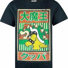 Camiseta de Super Mario Vintage Bowser con póster japonés para hombres y mujeres para jóvenes de mediana edad