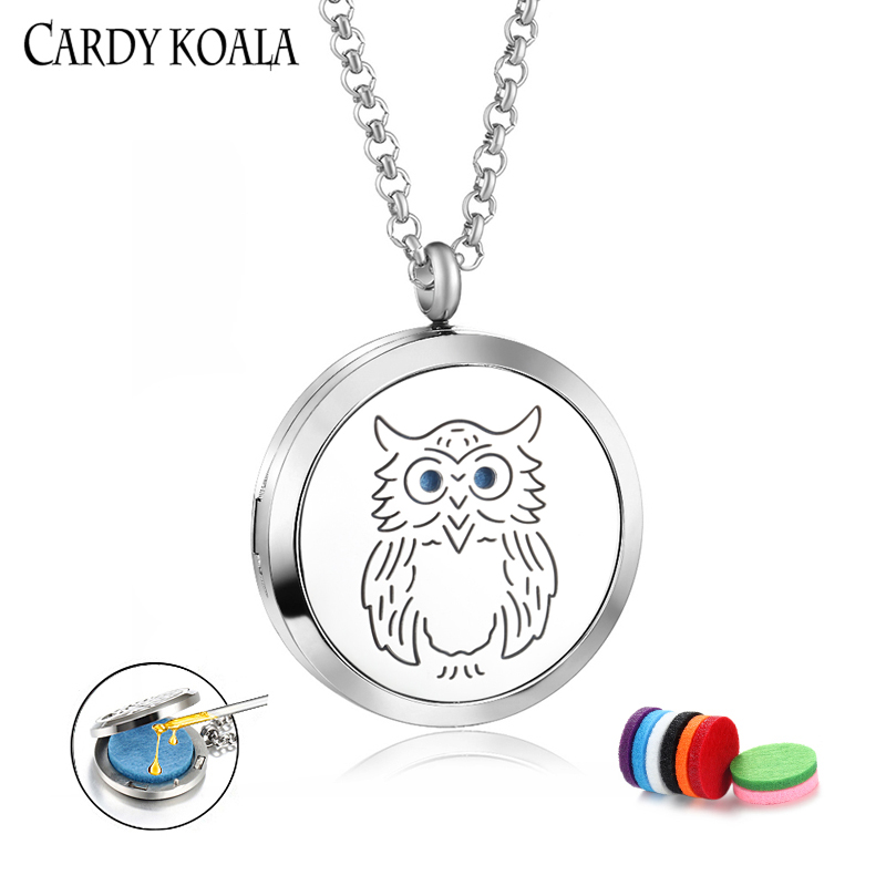Amazon jewelry owl carving pattern round perfume aromatherapy essential oil diffusion pendant...