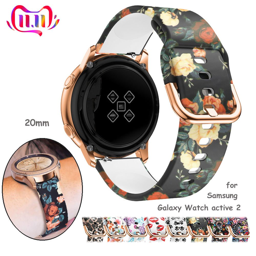 20mm Watch Strap For Samsung Galaxy Watch Active 2/42mm Gear S2/Sport Band Printed Silicone Bracelet Amazfit Bip Active2 42 Mm