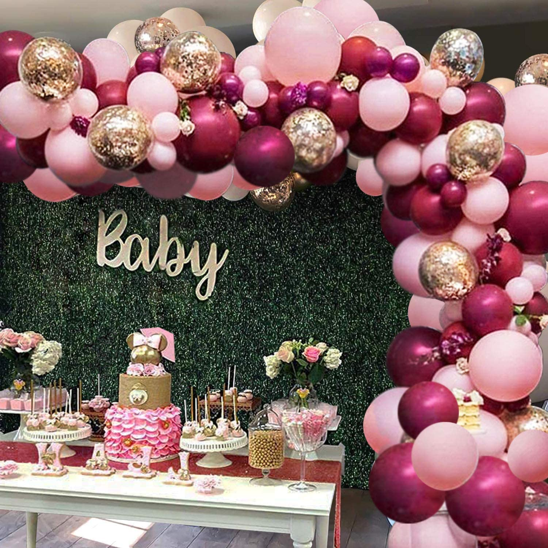 Воздушные шары цвета бургунди, розовые, золотые, с конфетти
