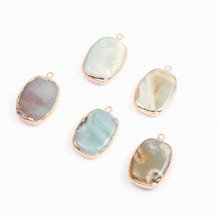 Natural Stone Fashion Elliptical shape Crystal  Resin Pendant for DIY Jewelry Making Supplies Size 20X32mm