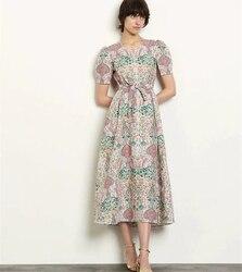 Short Sleeve Summer Dress Women Printed Dress Runway Fashion Casual Dress