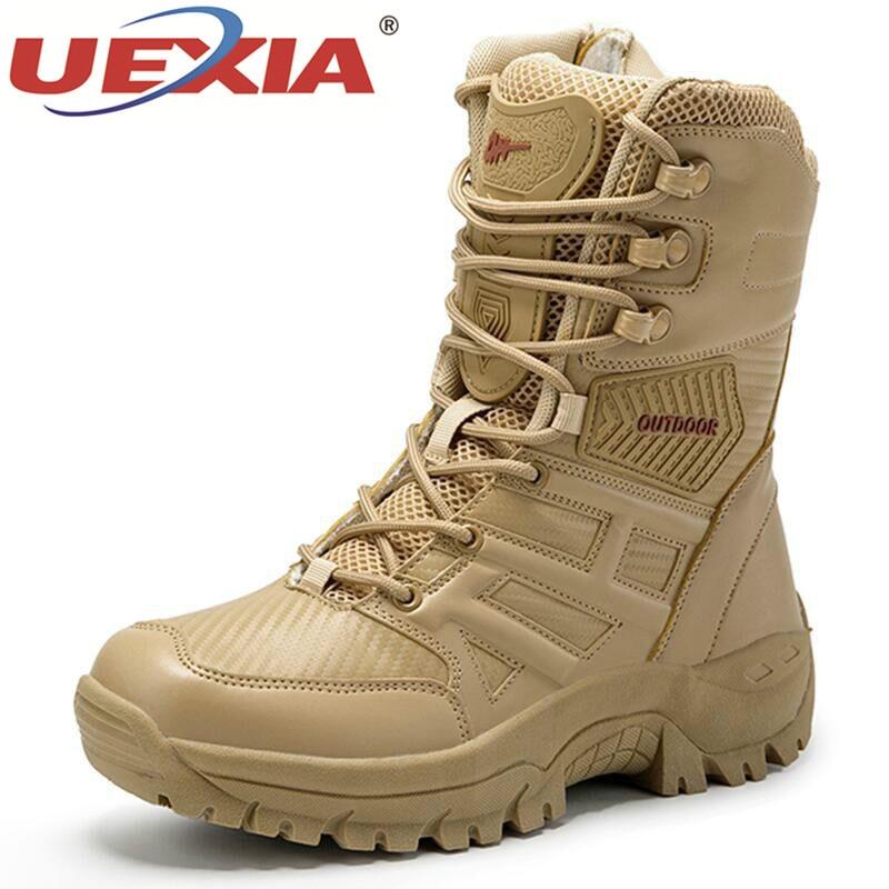 UEXIA חדש הנעלה צבאי טקטי Mens מגפי כוח מיוחד עור מדבר Combat קרסול אתחול צבא גברים של נעליים בתוספת גודל 39-47